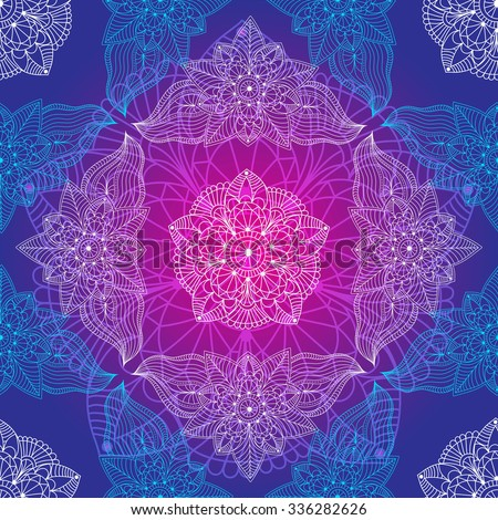 Vintage seamless violet-blue pattern with lacy flowers, vector eps 10 - stock vector