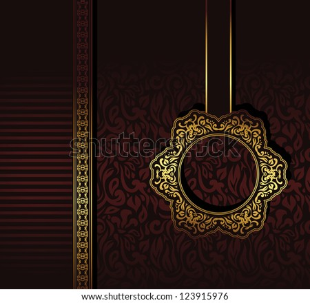 Vintage seamless wallpaper with a ribbon and frame in gold. Can be used as greeting card