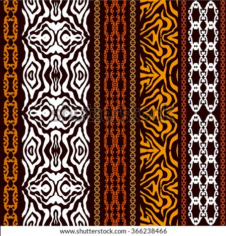 Vintage seamless wallpaper with ethnic motifs and tiger print. Abstract geometrical vector pattern. Art Deco style. Safari collection. - stock vector