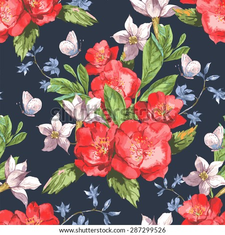 Vintage Seamless Watercolor Background with Blooming Red Roses, Vector Illustration - stock vector