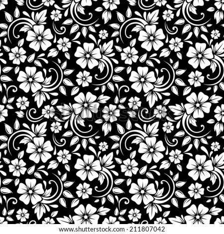 Vintage seamless white floral pattern on a black background. Vector illustration. - stock vector