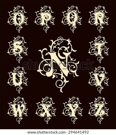 Vintage set capital letters, floral Monograms and beautiful filigree font. Art Deco, Nouveau, Modern style. - stock vector