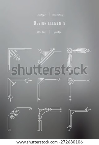 Vintage set - Elements of a framework, thin line - stock vector