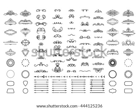 Vintage set exclusive borders and frame. Wicker lines and old vector decor elements. Vector page decoration with genuine. Decoration for logo, wedding album or restaurant menu. Calligraphic collection - stock vector