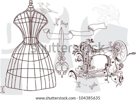 Vintage set - fashion and sewing, vector illustration