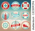 Vintage set of beach labels and badges. EPS 10 with gradient mesh. File is organized, grouped, and layered for easy separation of designs. - stock vector