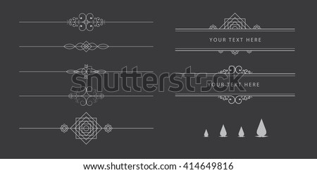 Vintage set of calligraphic dividers on chalkboard background, frame text elements - stock vector