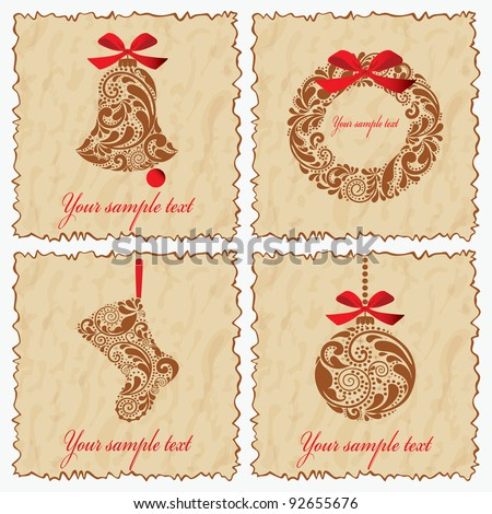 Vintage set of cards with a bell, ball, Santa sock and wreath. - stock vector