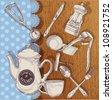 Vintage set of cooking utensils - stock vector