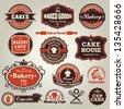 Vintage set of cupcake bakery label frame set - stock vector