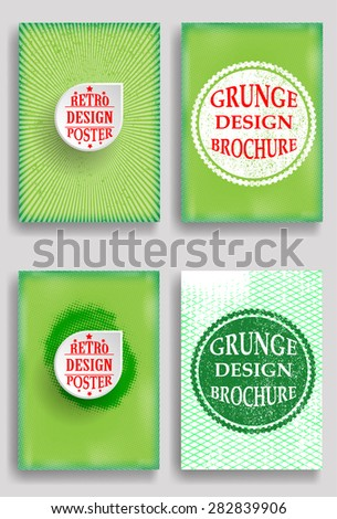 Vintage Set Of Different Grunge Textured Brochures . Retro Flyers , Banners , Posters with Border Frames , Halftone Dots and Distress Textures . Green Patterns in Grungy Style . - stock vector