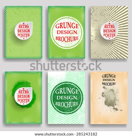 Vintage Set Of Different Grunge Textured Brochures . Retro Flyers , Banners , Posters with Border Frames , Halftone Dots and Distress Textures . Green and Yellow Patterns in Grungy Style . - stock vector