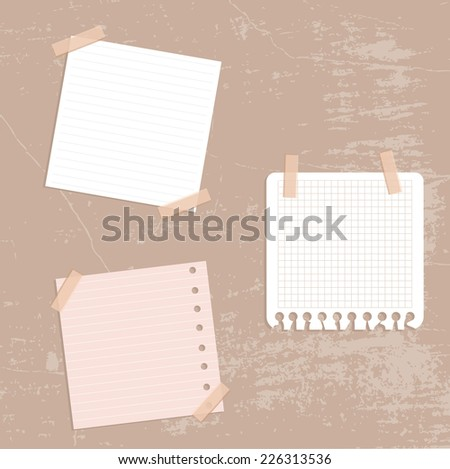 Vintage Set of different vector note papers. - stock vector