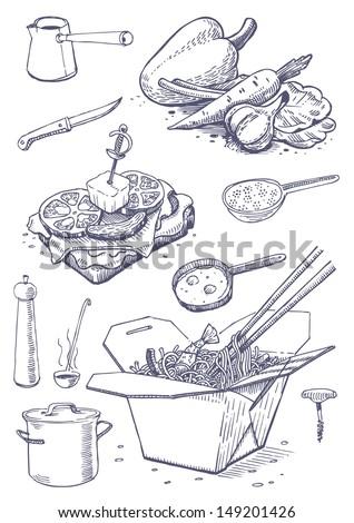 Vintage set of food and kitchen utensils  - stock vector