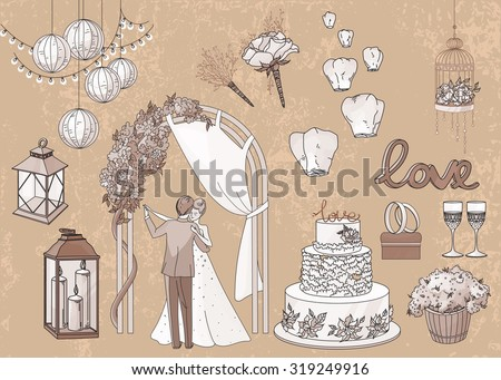 Vintage set of hand drawn wedding elements - string of lights, lanterns, flowers, candles, cake, rings, glasses, bride and groom in pastel brawn tones - stock vector