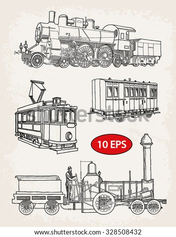 Vintage set of rail transport - stock vector