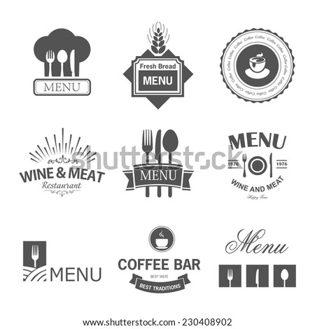 Vintage set of restaurant signs, symbols, logo elements and icons. Calligraphy decorations collection for restaurant menu. - stock vector