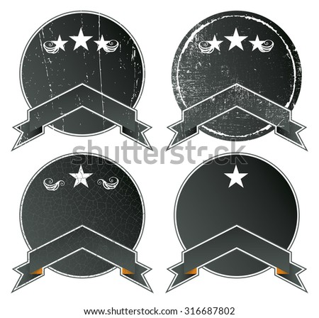 vintage set of shields with copy space - stock vector