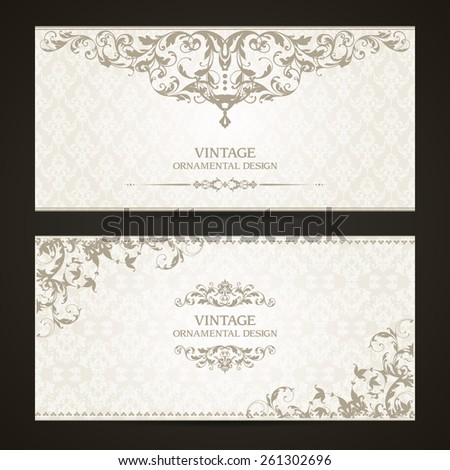 Vintage set of  template ornamental borders and patterned background. Elegant lace wedding invitation design, Greeting Card, banner - stock vector