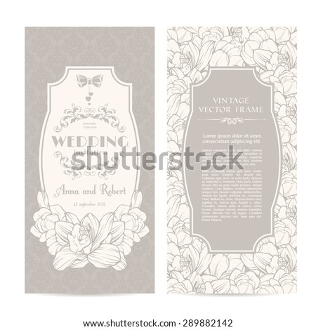 Vintage set of template spring flowers and patterned background. Elegant lace wedding invitation design, Greeting Card, banners - stock vector