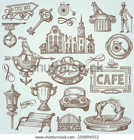 Vintage Set of Town Illustrations: Signs, Landmarks, Urban Objects - stock vector