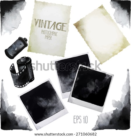 Vintage set of watercolor old photographic paper. Grunge corners. Vector design elements isolated on white background - stock vector