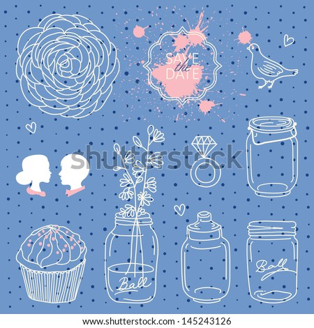 Vintage set of whimsical vector wedding elements - stock vector
