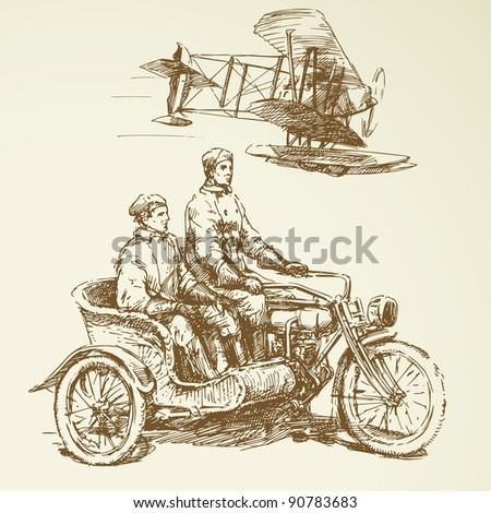 vintage set - old time vehicles - stock vector