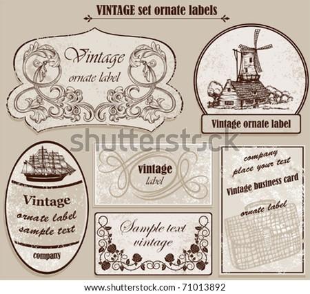 Vintage set ornate labels - stock vector
