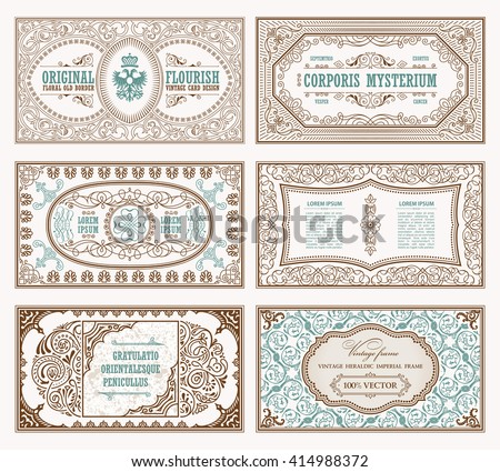Vintage set retro cards. Template greeting card wedding invitation. Line calligraphic frames. Floral engraving design labels advertising place for text. Flourishes frame background - stock vector
