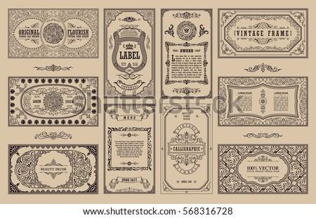 Vintage set retro cards template greeting stock vector 2018 template greeting card wedding invitation line calligraphic frames floral stopboris Images