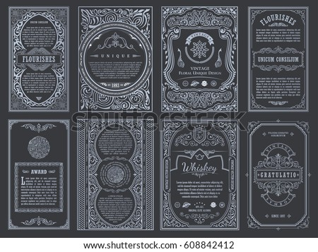 Vintage set retro cards template greeting stock vector 608842412 vintage set retro cards template greeting card wedding invitation line calligraphic frames floral stopboris Image collections
