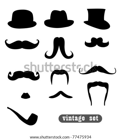 vintage set, with mustaches, hats and one pipe - stock vector