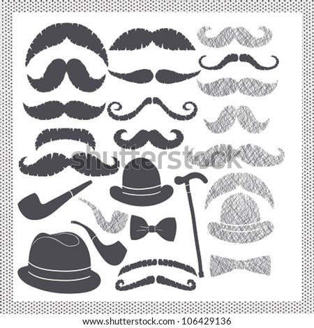 vintage set with mustaches, hats and pipes - stock vector