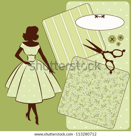 Vintage sewing elements with woman's silhouette on the background. Vector set - stock vector