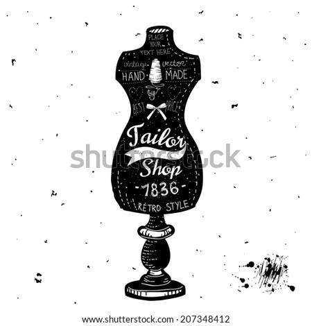 Vintage Sewing Kit Label Design - hand drawn illustration - in vector - stock vector