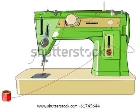 vintage sewing machine - stock vector
