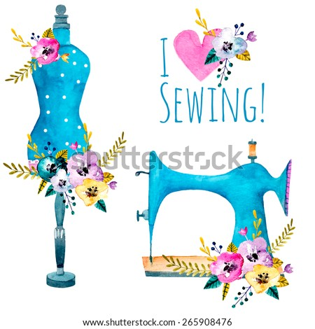 Vintage sewing machine and fashion mannequin isolated on white. Watercolor vector illustration for your design.  - stock vector