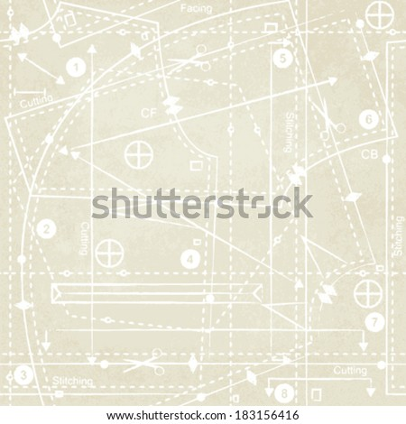 Vintage sewing pattern inspired vector background 3 - stock vector
