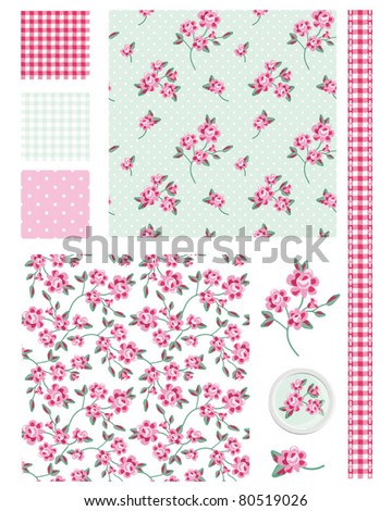 Vintage Shabby Chic Rose Seamless Patterns.  Use to create fabric projects or design elements for scrap booking. - stock vector