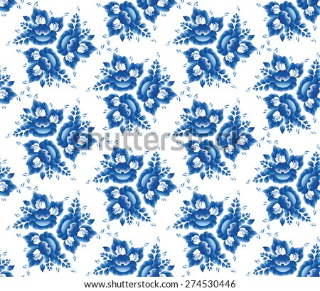 Vintage shabby Chic Seamless pattern with blue flowers and leaves. Vector  - stock vector