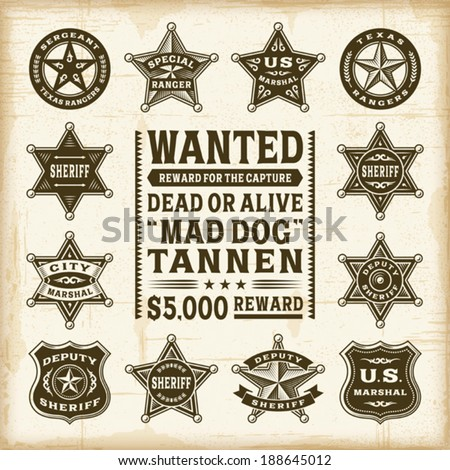 Vintage sheriff, marshal and ranger badges set. Fully editable EPS10 vector. - stock vector