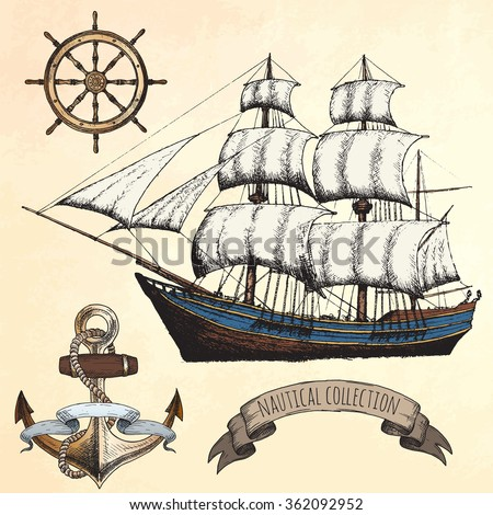 Vintage ship. Items on the marine theme. Hand drawn elements.