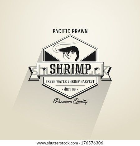 Vintage Shrimp badge in flat design style | editable vector - stock vector