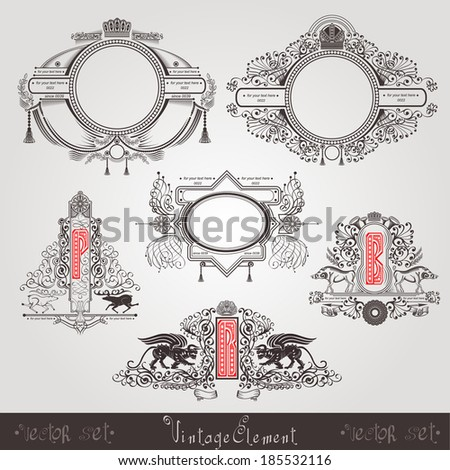 vintage silhouette elements with animals and letter - stock vector