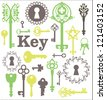 Vintage silhouette keys, beautiful silhouette keyholes, decorated frame, decorative items - stock photo