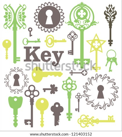 Vintage silhouette keys, beautiful silhouette keyholes, decorated frame, decorative items - stock vector