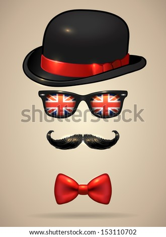 Vintage silhouette of bowler, mustaches, sunglasses with UK flag reflection and a bow tie - vector illustration. - stock vector