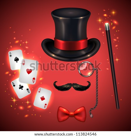 Vintage silhouette of top hat, mustaches, monocle, bow tie, wand and playing cards(magician kit)- vector illustration. - stock vector