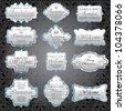 vintage silver framed invitation labels - stock vector